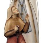 statua Madonna di Lourdes con Bernadette in legno - busto