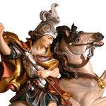 statua San Giorgio a cavallo in legno - volto