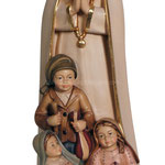 statua Madonna di Fatima con pastorelli in legno - busto