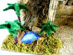 presepe laghetto con palme