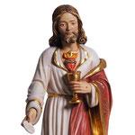 statua Sacro Cuore di Gesù con particola in legno - volto