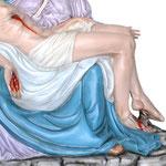 statua Madonna Pietà cm 130 - mani
