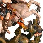 statua San Giorgio a cavallo in legno - drago