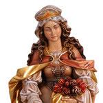 statua Santa Elisabetta con pane in legno - volto