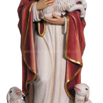 statua Gesù buon pastore in legno - busto