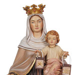 statua Madonna del Carmine in legno - volto