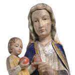 statua Madonna di Mariazell seduta in legno - volto