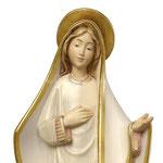 statua Madonna di Medjugorje stilizzata in legno - volto