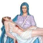 statua Madonna Pietà cm 130 - volto