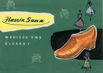 724 Hassia-Sana Schuh Postkarte, Layout (ca. 1960/62), 15x10 cm, Tuschefeder, Tempera