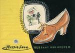 726 Hassia-Sana Schuh Postkarte, Layout (ca. 1960/62), 15x10 cm, Tuschefeder, Tempera