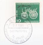 839 Briefmarke 75 Jahre Motorisierung des Verkehrs, 10 Pfennig (1961), 3x2,5 cm, Druck, gestempelte Erstausgabe