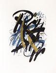 088 PreludeRachmaninoff, op 3 Nr.2 in schwarz, blau, gold (1989), 37x 50 cm, Tempera, massive Schrift