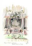 603 Orgel Santa Maria La Major, Mao - Menorca (2006/2008), 10x15 cm, Bunststift, Aquarell, Tuschefeder
