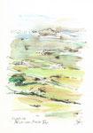 581 Blick vom Monte Toro - Menorca (2006/2008), 10x15 cm, Bunststift, Aquarell, Tuschefeder