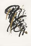 401 Prelude Rachmaninoff (1989), 31x50 cm, Acryl und Feder, gold und dunkelblau