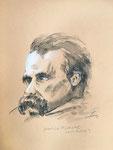 822 Nach H. Olsa - Nietzsche (2007), 24x32 cm, Pastellstift, Aquarell