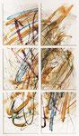 038 Aquarell Kalligraphie in sechs Teilen (1988), 19x32 cm, Montage