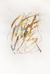 028 Kalligraphie Feder (1988), 30x35 cm, braun, gelb