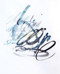 446 Meine Träume sind Leuchtkäfer -Tagore (1986), 30x40 cm, Aquarell, Kalligraphie