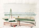 397 Korsika, Weinflasche und Blick aufs Meer (1985), 40x30 cm, Aquarell
