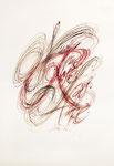 411 Hilde Domin; eine Rose (1995), 31x44 cm, Feder, Tusche, braun und rot