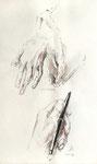 819 Nach Dürer - Hände (2007), 24x 32 cm, Aquarell, Tuschefeder