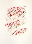 016 Rötliche Tusche Studie Kalligraphie (1991), 29x39cm, Federzeichnung, Buchstaben in gleicher Größe