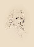044 Portrait Chopin (Datum unbekannt), Federzeichnung, oval