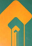 057 Konstruktion Formen in orange/grün (ca. 1971), 42x60 cm, Tempera, plakativ
