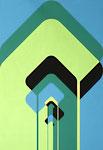 054 Konstruktion Formen in blau/grün/schwarz (ca. 1971), 42x60 cm, Tempera, plakativ