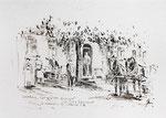 431 Gasthaus zur Schönen Aussicht - Eingangstür, Pferdefuhrwerk (Datum unbekannt), 15x10cm, Federzeichnung Sepia