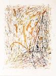030 Wildes Buchstabenrechteck (1988), 21x17 cm, Studie, dynamische Buchstaben im Rechteck, Herbstfarben