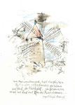 616 Windmühle und Gedicht von M.A. Asturias (Datum unbekannt), 15x10 cm, Bunststift, Aquarell, Tuschefeder