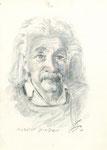 555 Portrait Albert Einstein (ca. 2005), 10x15 cm, Buntstift, Aquarell