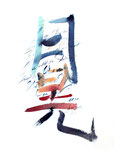 442 Der Abendstern liegt auf dem Berg, Jan-Di, chinesische Schriftzeichen (1987), 39x50 cm, Aquarell bunt