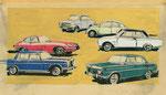 699  Auto-Titelillustrationen (1962), 32x19 cm, Tuschefeder, Tempera