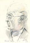 553 Portrait Rudolf Serkin (ca. 2005), 10x15 cm, Buntstift, Aquarell
