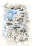 591 Cales Piques - Menorca (2006/2008), 10x15 cm, Bunststift, Aquarell, Tuschefeder