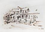 432 Wohnhaus in Saskali von 1938 (Datum unbekannt), 15x10cm, Federzeichnung Sepia