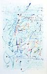 443 Schrift auf hellblauem Grund - Alphabet (1988), 42x52 cm, Feder und Aquarell