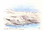 563 Cala Morell - Menorca (2006/2008), 15x10 cm, Bunststift, Aquarell, Tuschefeder
