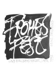 818 Frohes Fest - Etikett (1995) 16x16 cm, Tuschefeder, Monatgekleber