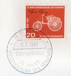 840 Briefmarke 75 Jahre Motorisierung des Verkehrs, 20 Pfennig (1961), 3x2,5 cm, Druck, gestempelte Erstausgabe
