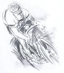 828 Rennradfahrer (Datum unbekannt), Illustration, 24x27 cm, Bleistift