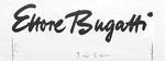 835 Ettore Bugatti, Schriftzug (ca. 1960/62), 27x13 cm, Tuschefeder