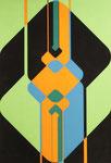 163 Konstruktion Formen in orange/grün/blau/schwarz (ca. 1971), 42x60 cm, Tempera
