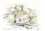 597 Erinnerung an schöne Zeiten in Korsika (Datum unbekannt), 15x10 cm, Bunststift, Aquarell, Tuschefeder