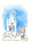 579 Ermita de Sant Joan de Missa - Menorca (2006/2008), 10x15 cm, Bunststift, Aquarell, Tuschefeder