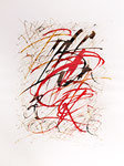 041 Feuer, wilde Buchstaben (1981), 28x38 cm, Aquarell, Rot im Vordergrund